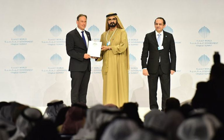 Hunt receiving the award for 'Best Minister'. (IMAGE: World Government Summit).