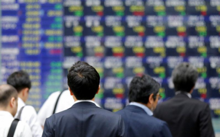 Asia shares slip from decade highs, oil at two-year top on Saudi purge