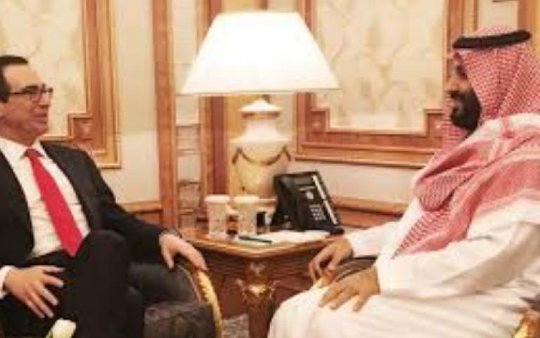 """محادثات بين ولي العهد السعودي ووزير الخزانه الأمريكي """"ستيف منوتشين"""""""